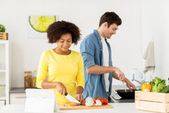 Free Happy Couple Cooking Food At Home Kitchen Royalty Free Stock Photography - 98428777