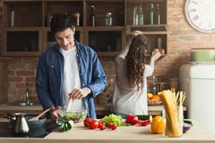 Happy couple cooking healthy dinner together stock photos