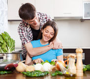 Happy couple cooking  lunch Royalty Free Stock Photography