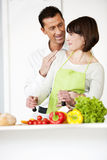 Happy Couple Cooking Together Stock Photography