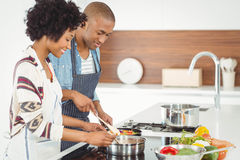 Happy couple cooking together stock photo