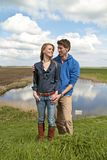 Happy couple in the countryside Royalty Free Stock Images