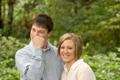 Happy couple in countryside royalty free stock image