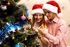 Happy couple,cristmas royalty free stock photography