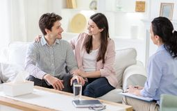 Free Happy Couple Cuddling And Telling Good Words At Marital Session Stock Photos - 166198063