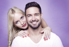 Happy couple. Cute happy couple, a horizontal portrait with copy space Royalty Free Stock Images