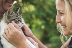 Happy couple with cute kitten Royalty Free Stock Image
