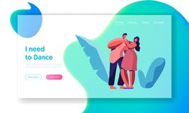 Happy Couple Dance Together Landing Page. Male and Female Lover Character Dancing Website Template. Young People. Cuddle. Boy and Girl Dancer have Fun. Flat royalty free illustration