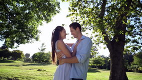 Happy couple dancing in the park. On a sunny day stock video footage