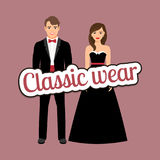 Happy couple in dark classic suits royalty free illustration