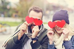 Picture showing happy young couple dating in the city Royalty Free Stock Images