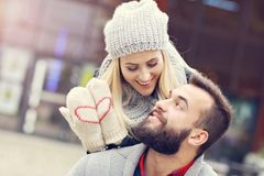 Picture showing happy young couple dating in the city Royalty Free Stock Photo