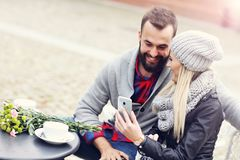 Picture showing happy young couple dating in the city Royalty Free Stock Photography