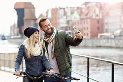 Picture showing happy young couple dating in the city Stock Image