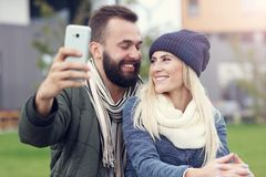 Picture showing happy young couple dating in the city Stock Photography