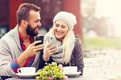 Picture showing happy young couple dating in the city Royalty Free Stock Image