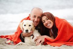 Happy couple with a dog on the beach Stock Images