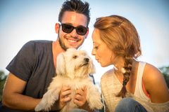 Happy couple with dog Stock Photos