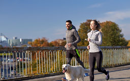 Happy couple with dog running outdoors Stock Image