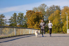 Happy couple with dog running outdoors Royalty Free Stock Photo