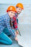 Happy couple doing renovation Royalty Free Stock Photo