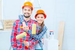 Happy couple doing renovation Stock Photography
