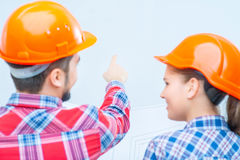 Happy couple doing renovation Stock Images
