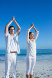 Happy couple doing yoga beside the water Stock Images