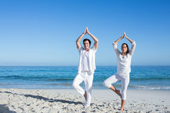 Happy couple doing yoga beside the water Royalty Free Stock Images