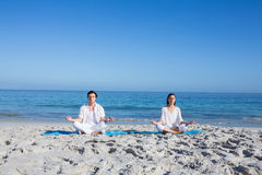 Happy couple doing yoga beside the water Royalty Free Stock Image