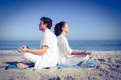 Happy couple doing yoga beside the water Stock Image