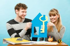 Happy couple dreaming about house. Stock Photography
