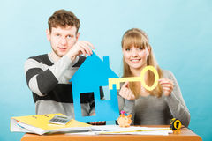 Happy couple dreaming about house. Royalty Free Stock Photos