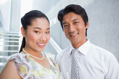 Happy couple dressed up for a date Stock Photos