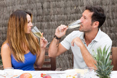 Happy couple drinking champagne. Man and women celebrating success with a glass of champagne Stock Photography