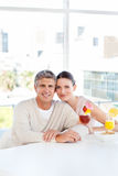 Happy couple drinking a glass Royalty Free Stock Image