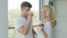 Happy Couple Drinking Red Wine To Celebrate stock video footage