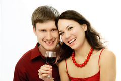 Happy couple drinking vine Royalty Free Stock Image