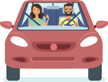 Happy couple driving car. Happy couple driving the red car flat vector Royalty Free Stock Photo