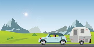 Happy couple driving car on road on a sunny spring day in the ho. Liday, Family vacation travel, holiday trip in motorhome, Caravan car Vacation in flat design vector illustration