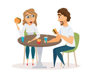 Happy Couple Eating Royalty Free Stock Photos