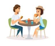 Happy Couple Eating Stock Image