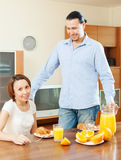 Happy couple eating breakfast Stock Image