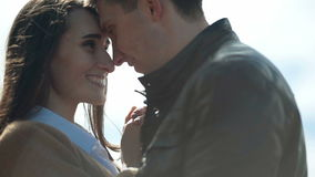 Happy couple embracing in love romantic and fun stock video footage