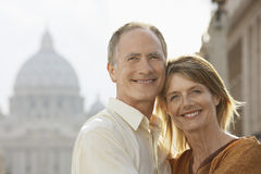Happy Couple Embracing In Rome. Closeup portrait of happy couple embracing in Rome; Italy Royalty Free Stock Images