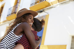 Happy couple embracing in the street, close up, Ibiza, Spain Royalty Free Stock Photography