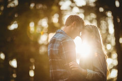 Happy couple embracing and about to kiss Stock Photos