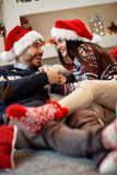 Happy couple enjoy in bad in New Year`s night Royalty Free Stock Photography