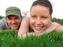 Happy couple enjoy summer day in the park. Stock Photography