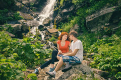 Happy couple enjoying beautiful nature Stock Photos